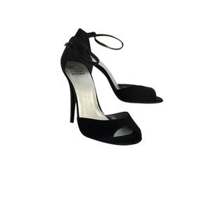 Black Satin ankle strap w/ shimmer heels